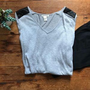 H&M V-Neck Sweater w Faux Leather Shoulder Caps